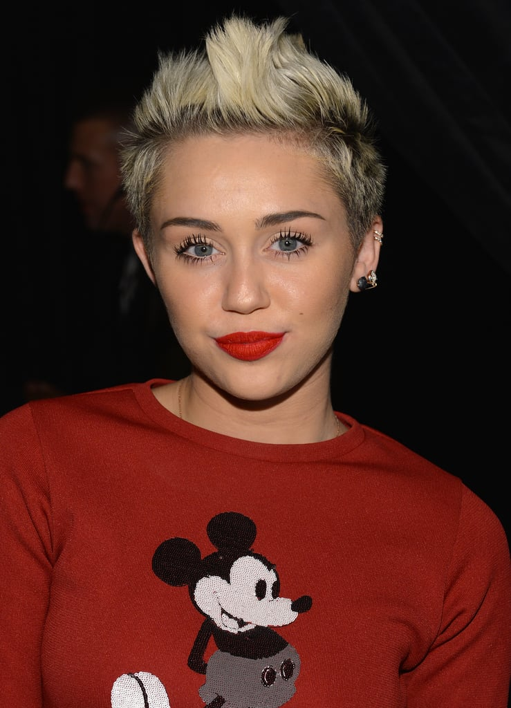 She's changed her hair from long to short and from brown to blond over the past year, but it seems like Miley Cyrus is sticking to her peroxide hue . . . for now.