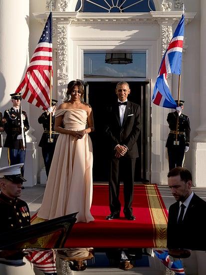 Michelle Obama Stuns In Blush Naeem Khan for Nordic State Dinner