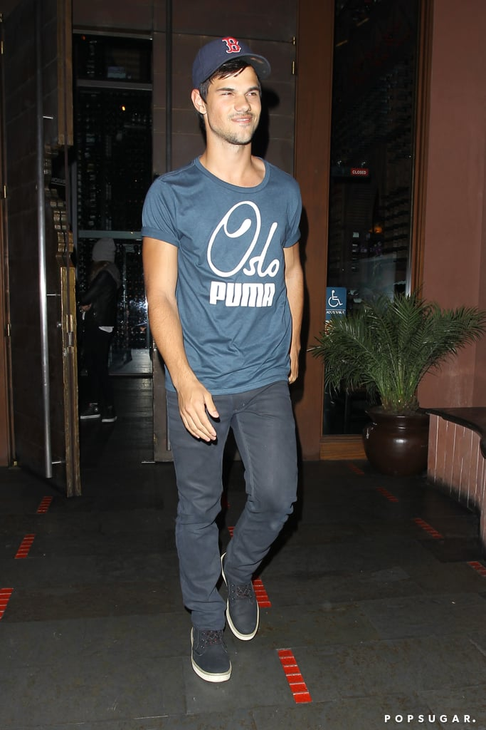 Taylor Lautner left dinner with a big smile on his face.