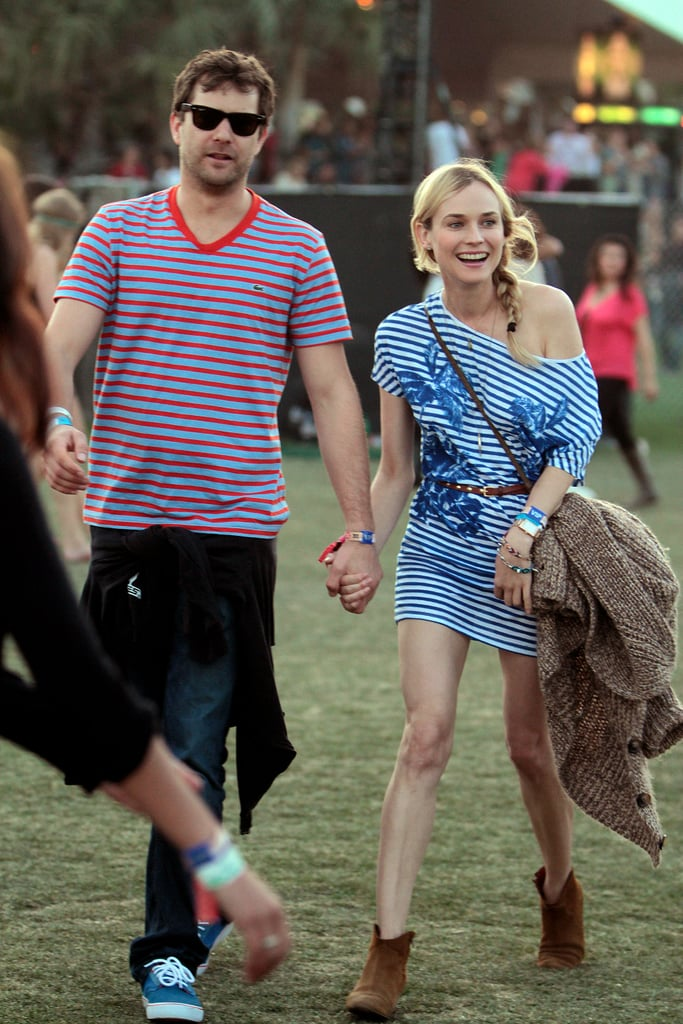 Diane Kruger and beau Joshua Jackson looked too-cute in matching stripes.