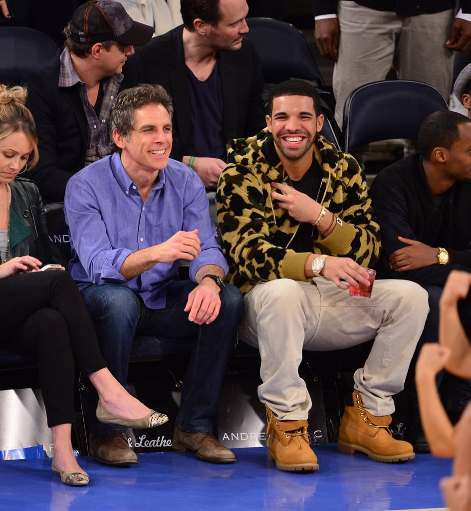 Ben Stiller and Drake made an unlikely courtside couple during a NY Knicks game in April 2013.