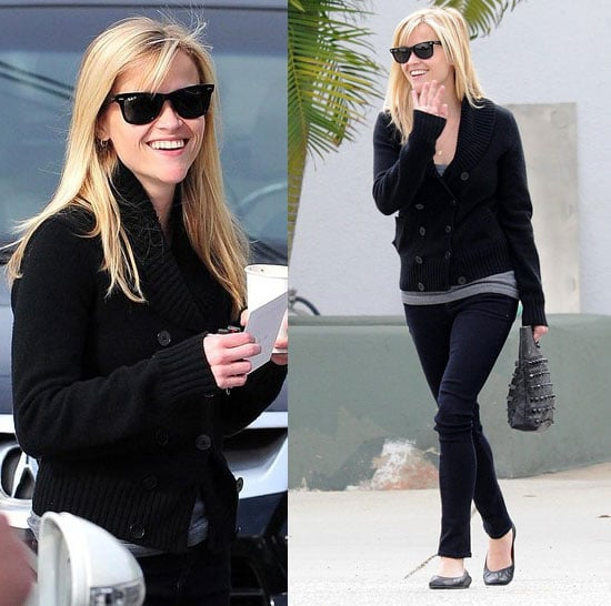 Reese Witherspoon Grabbing Coffee in LA in Black Knit Sweater and Ray Ban Sunglasses