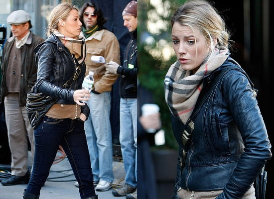Blake Lively on Set of Gossip Girl, Serena Van Der Woodsen's leather Cross Body Bag