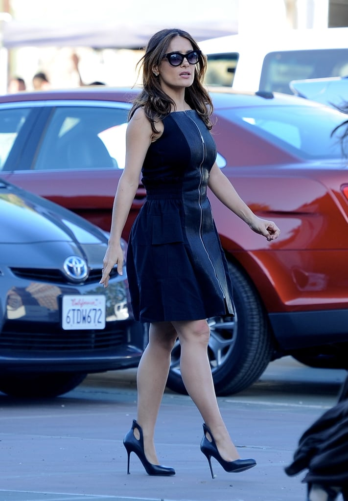 Salma Hayek continued filming How to Make Love Like an Englishman on Wednesday in LA.