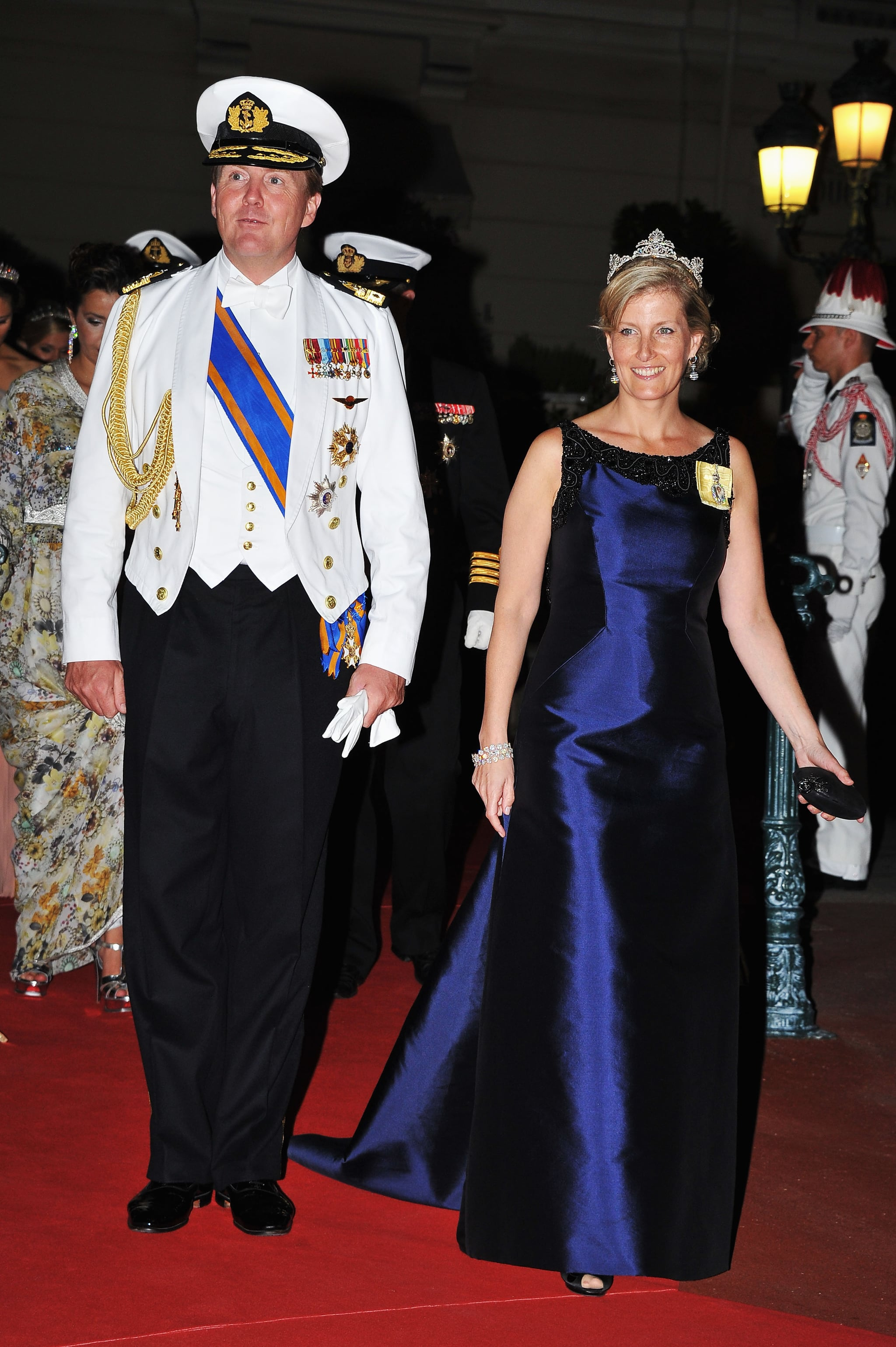 Crown Prince Willem-Alexander of Netherlands and Sophie, countess of Wessex, attended a dinner at Opera terraces after the religious wedding ceremony of Prince Albert II of Monaco and Princess Charlene of Monaco.