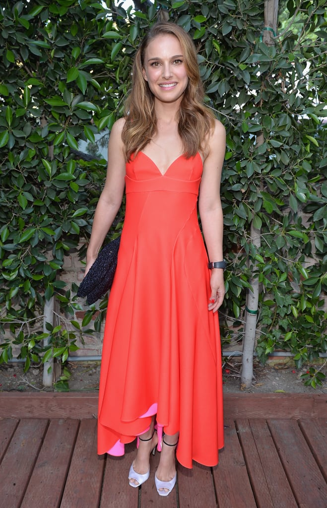 Natalie Portman was summery in a bright orange Christian Dior dress at the LA Dance Project's Inaugural Benefit gala in LA.