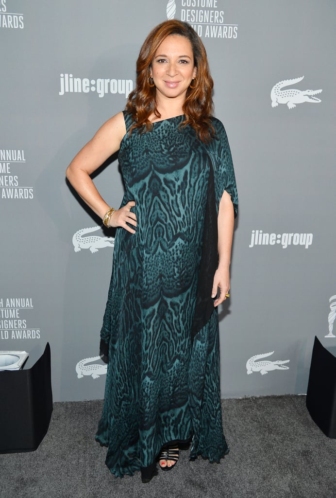 Maya Rudolph chose an asymmetrical, animal-print gown in green and finished the look off with black strappy sandals and a few simple gold jewels.