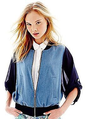 Update your denim wardrobe with this L'Amour Nanette Lepore chambray bomber jacket ($18, originally $30).