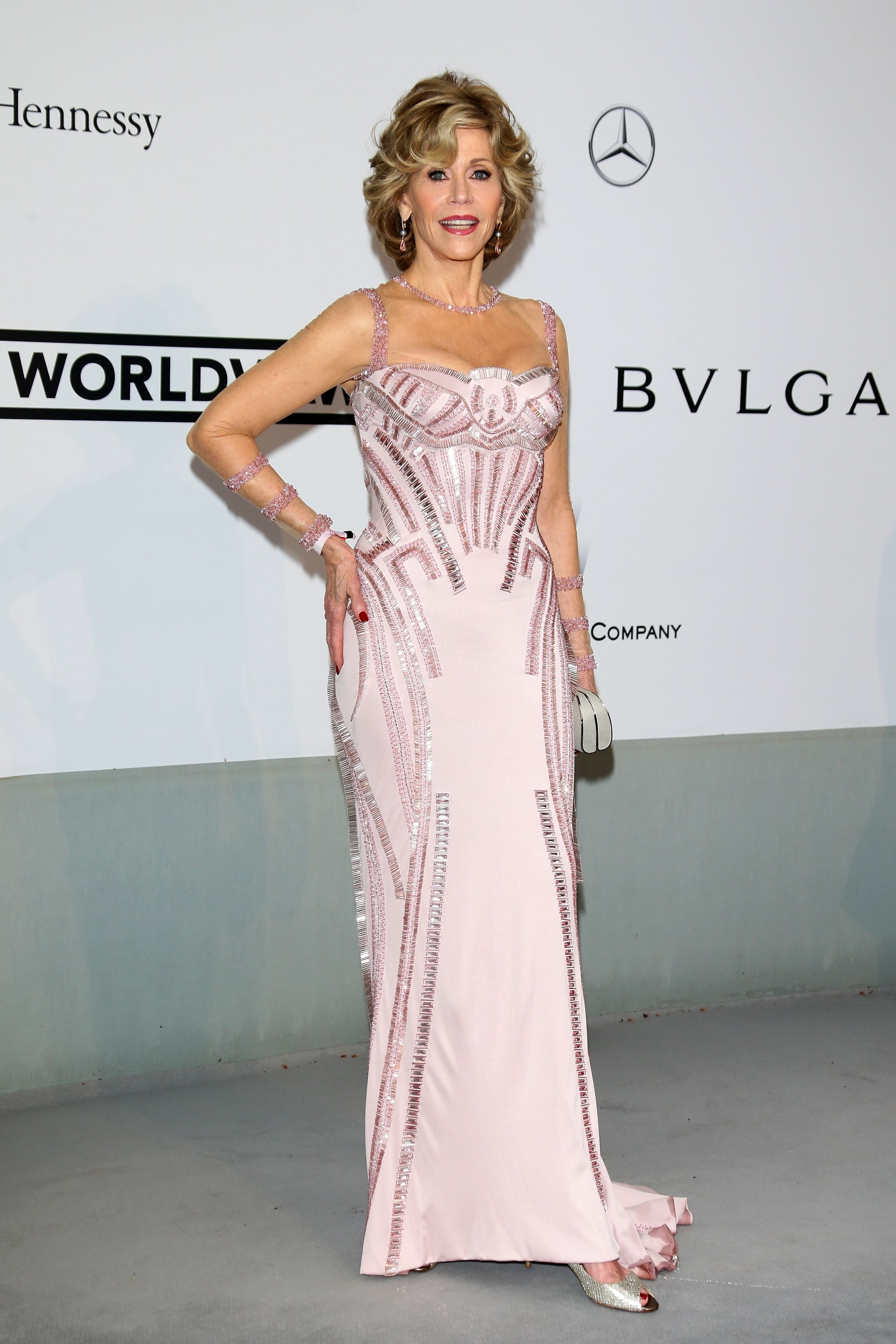 Jane Fonda wore a pale pink strapless gown.