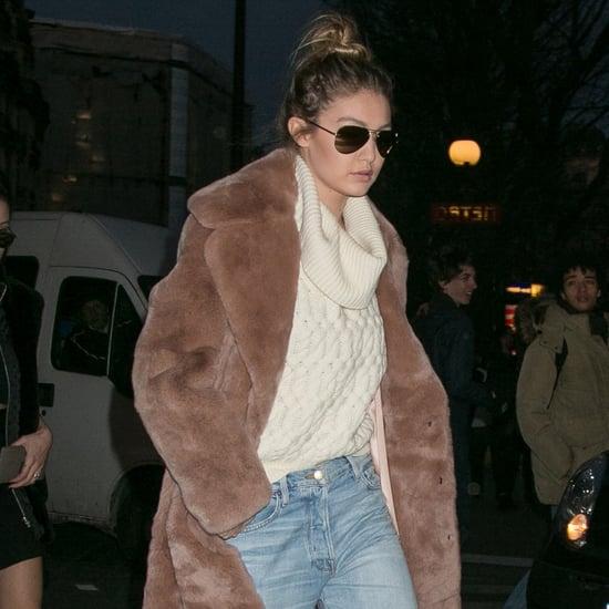 Gigi Hadid Wearing Furry Coat in Paris