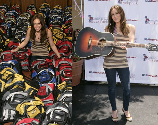 Hilary Duff Helps Stuff Backpacks & Announces US Tour