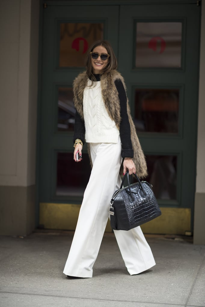 Olivia Palermo was all smiles in chic Winter white — and with a Givenchy satchel in tow. Source: Le 21ème   Adam Katz Sinding