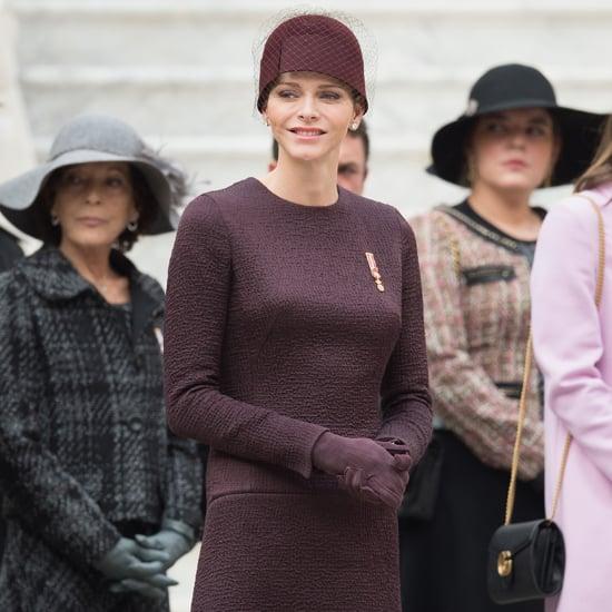 Princess Charlene of Monaco Wearing a Purple Dress