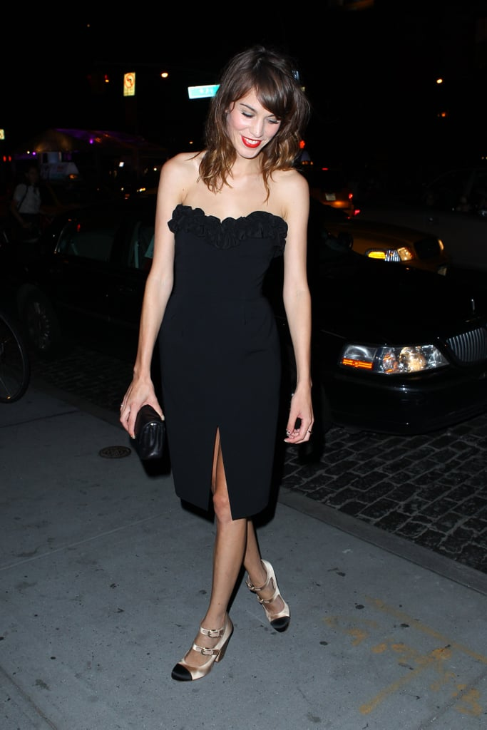 What a sexy look from Lex! A strapless LBD vamped up her usual schoolgirl/tomboy routine in September in NYC.