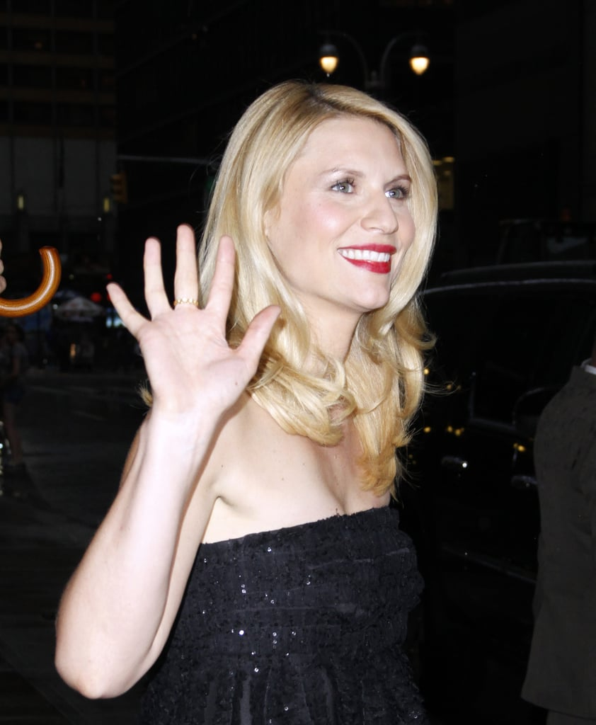 Claire Danes gave a wave outside of Late Show With David Letterman.