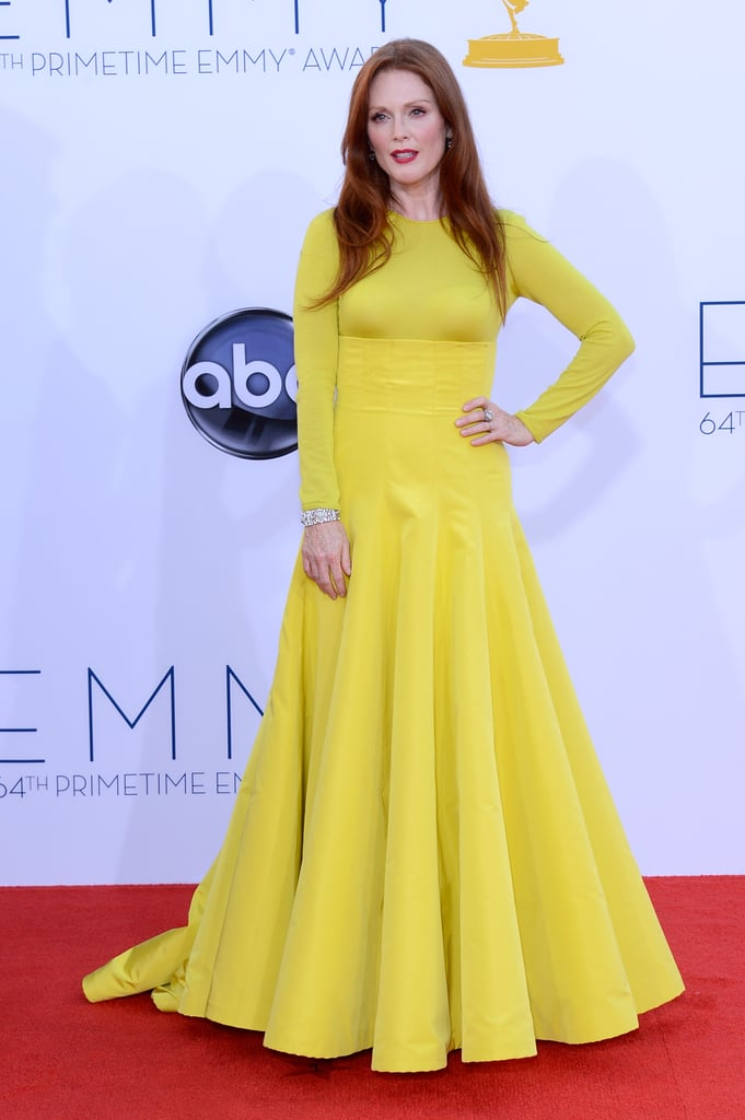 Julianne Moore wore a yellow Christian Dior gown for the Emmy Awards.