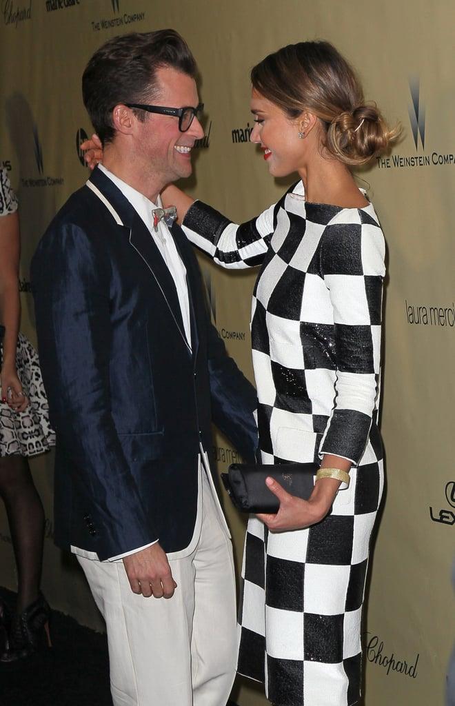 Jessica Alba hugged stylist Brad Goreski.