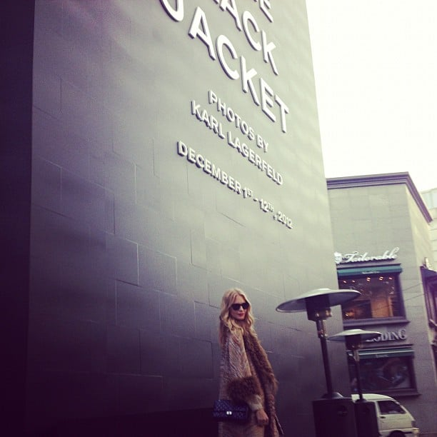 Poppy Delevingne visited the Chanel Little Black Jacket exhibit in Korea. Source: Instagram user poppydelevingne