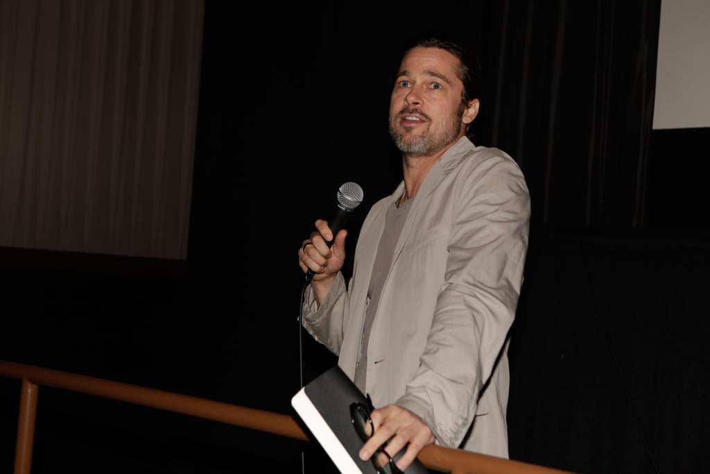 """Brad Pitt Goes Solo For a Screening and Talks About His """"Drug Days"""""""