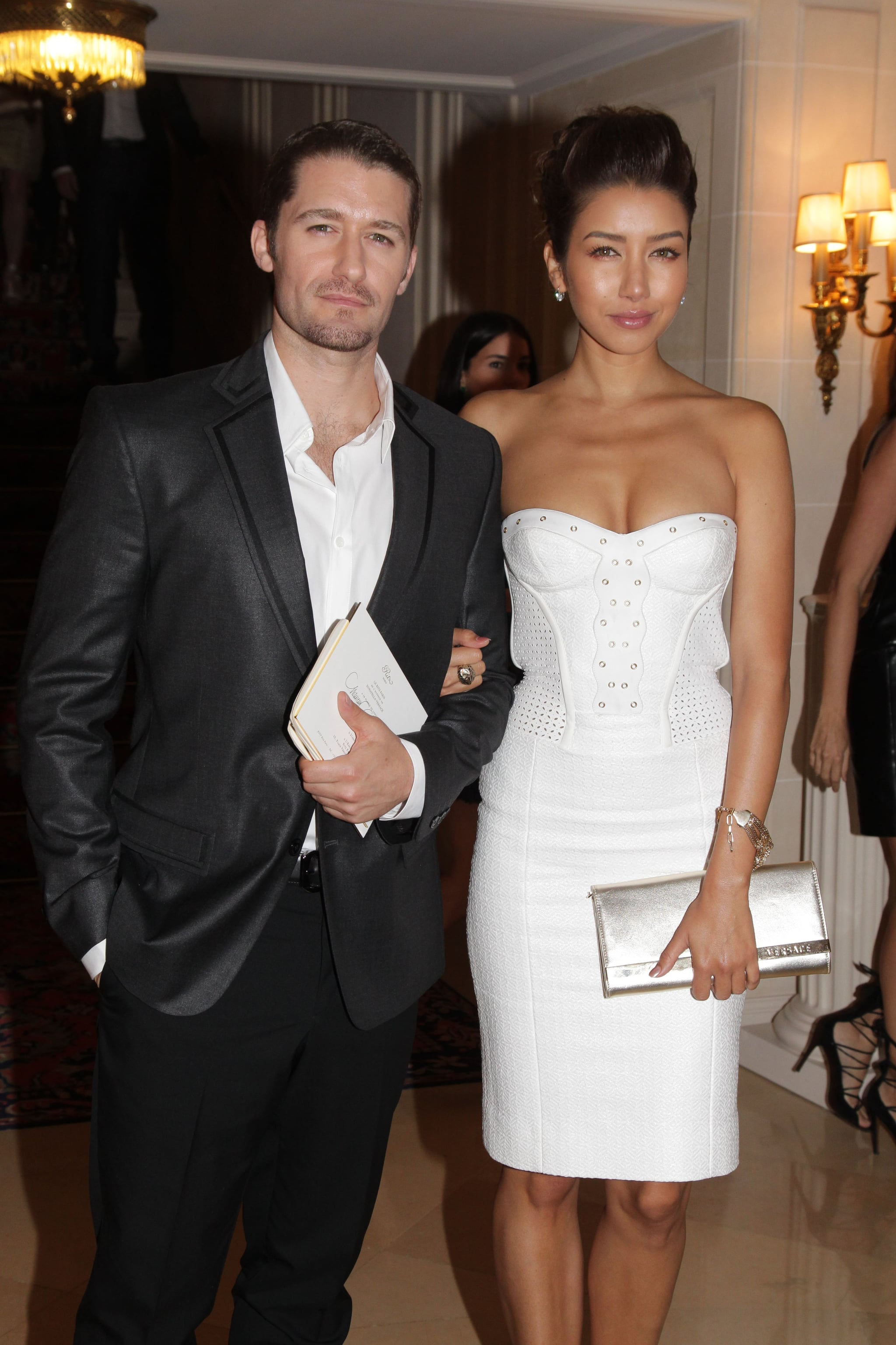 Matthew Morrison had Renee Puente on his arm for the Versace show for Paris Fashion Week.