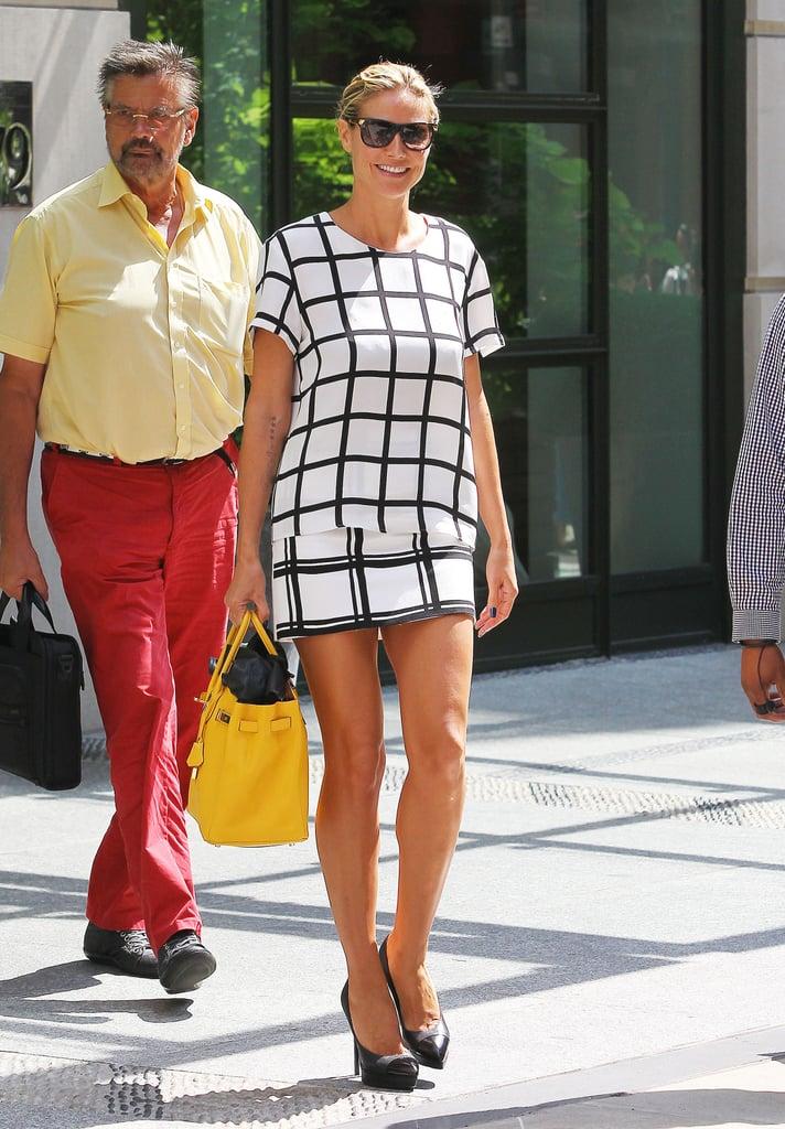 The matchy-matchy effect looks good on Heidi Klum, who coordinated her windowpane-print Tibi top and bottom.