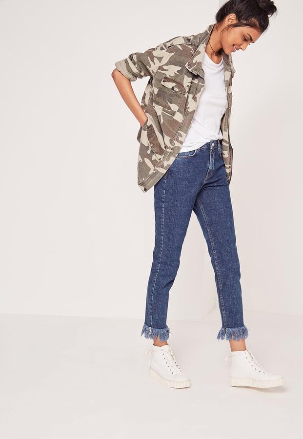 Missguided Extreme Fray Hem Cropped Slim Leg Jeans Blue ($48)</p><p>