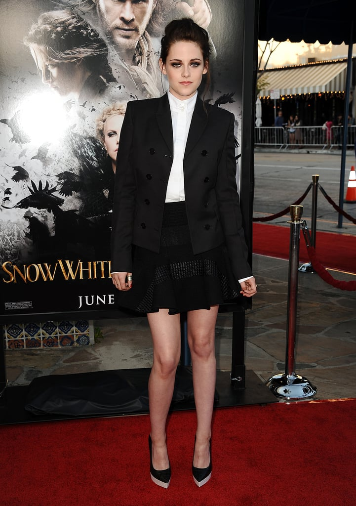 At the LA screening of Snow White and the Huntsman in May 2012, Stewart went for a boy-meets-girl tuxedo look. She sported head-to-toe Stella McCartney pieces, including the designer's faux-leather colorblock pumps.