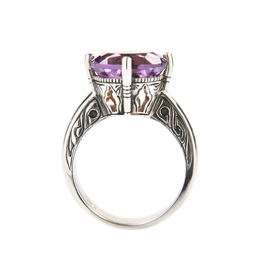 9 carat white gold and amethyst ring, $2,800, Love and Hatred