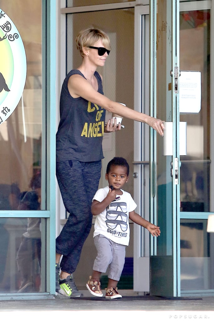 Charlize Theron and Jackson Theron left the Fit For Kids gym in LA.