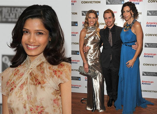 Birthday Girl Freida Pinto at the London Film Festival Miral Press Conference, Plus Conviction Premiere
