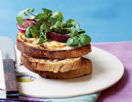 Taleggio Tartines With Grape Watercress Salad Recipe
