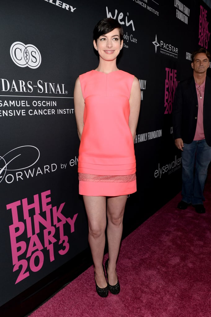 Anne Hathaway wore a pink J. Mendel dress.