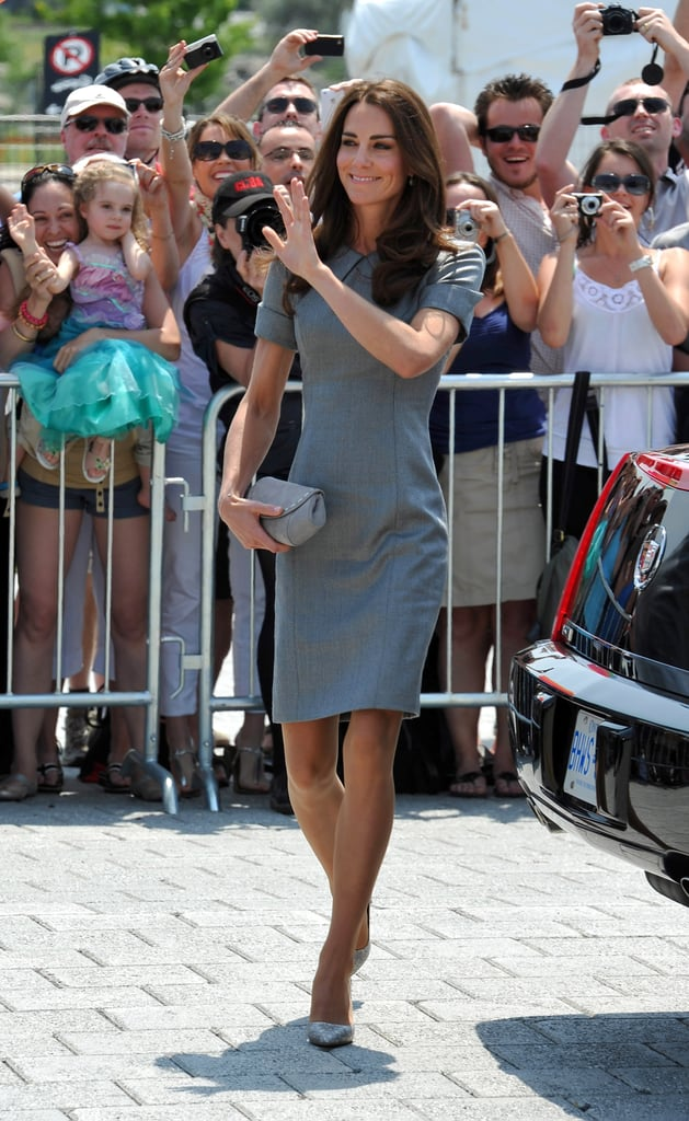 Kate Middleton waved to hundreds of fans.