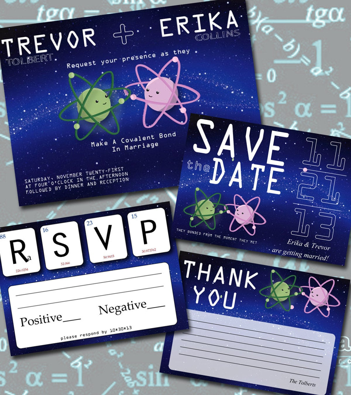"""""""Make a covalent bond in marriage"""" is the perfect wording for this invitation set ($25 for digital file) made for scientific sweeties."""