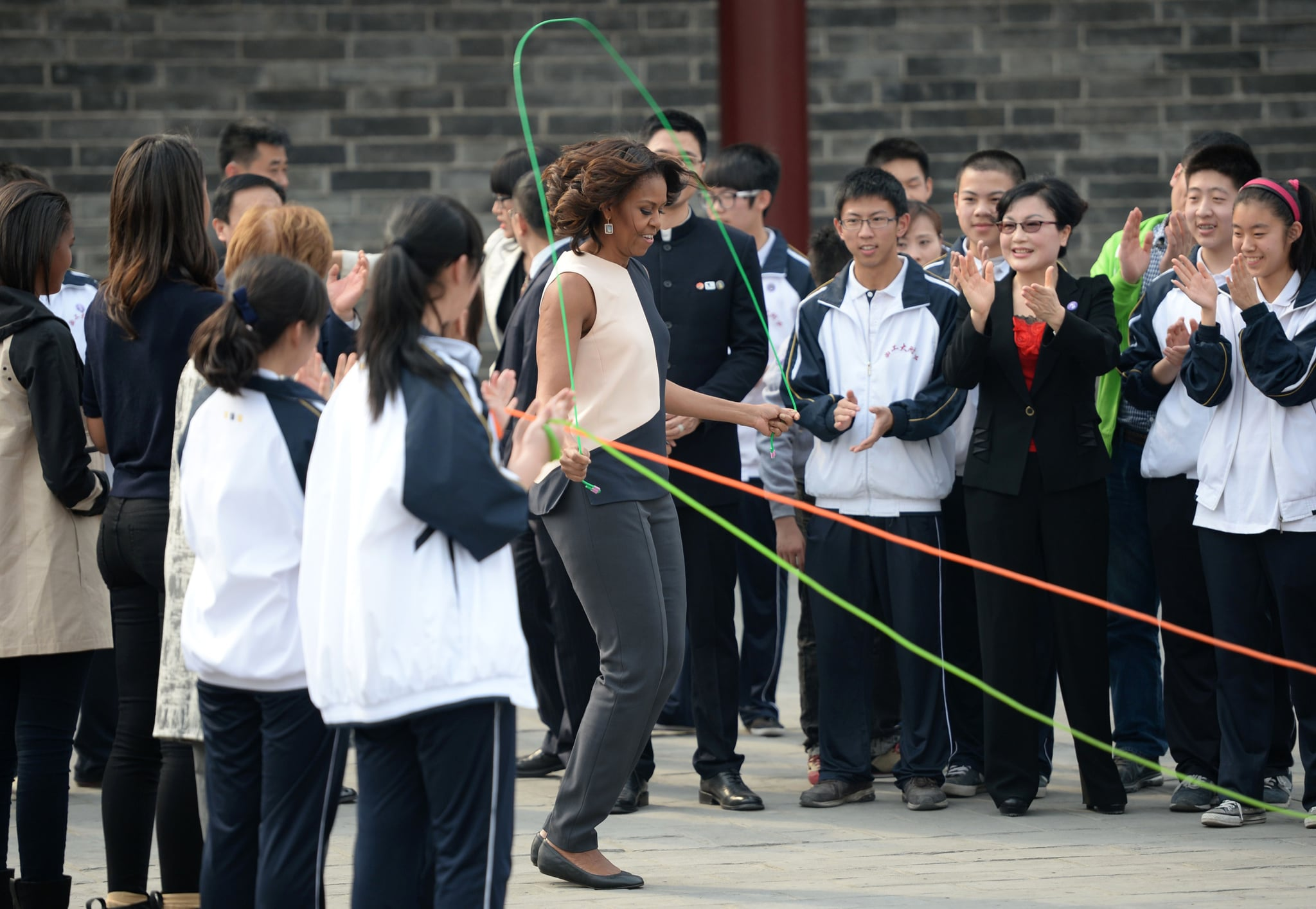 Michelle had the crowd applauding while she jumped rope.