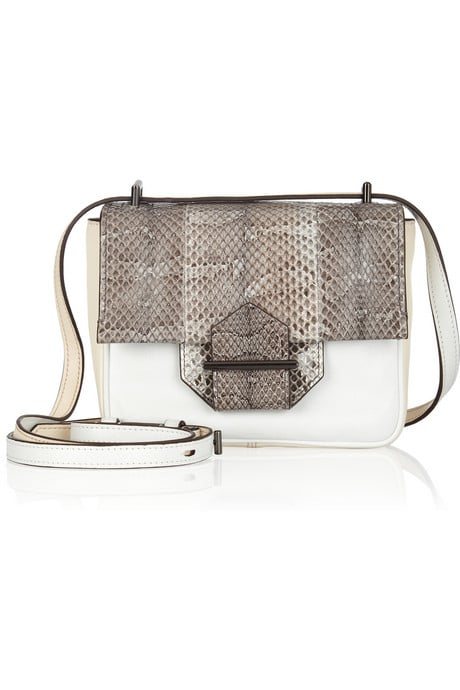 The elegant mix of snakeskin and white leather comes together for a rich take on minimalism. Reed Krakoff Leather and Ayers Watersnake Shoulder Bag ($690)