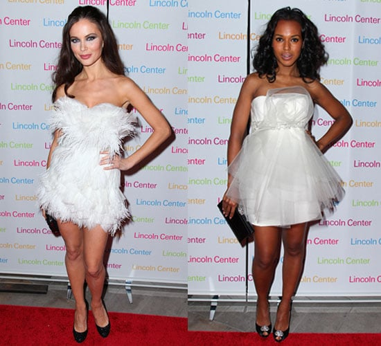 Photo of Kerry Washington and Georgina Chapman Wearing White Marchesa Dresses at  Music Unites Fall Masquerade Gala