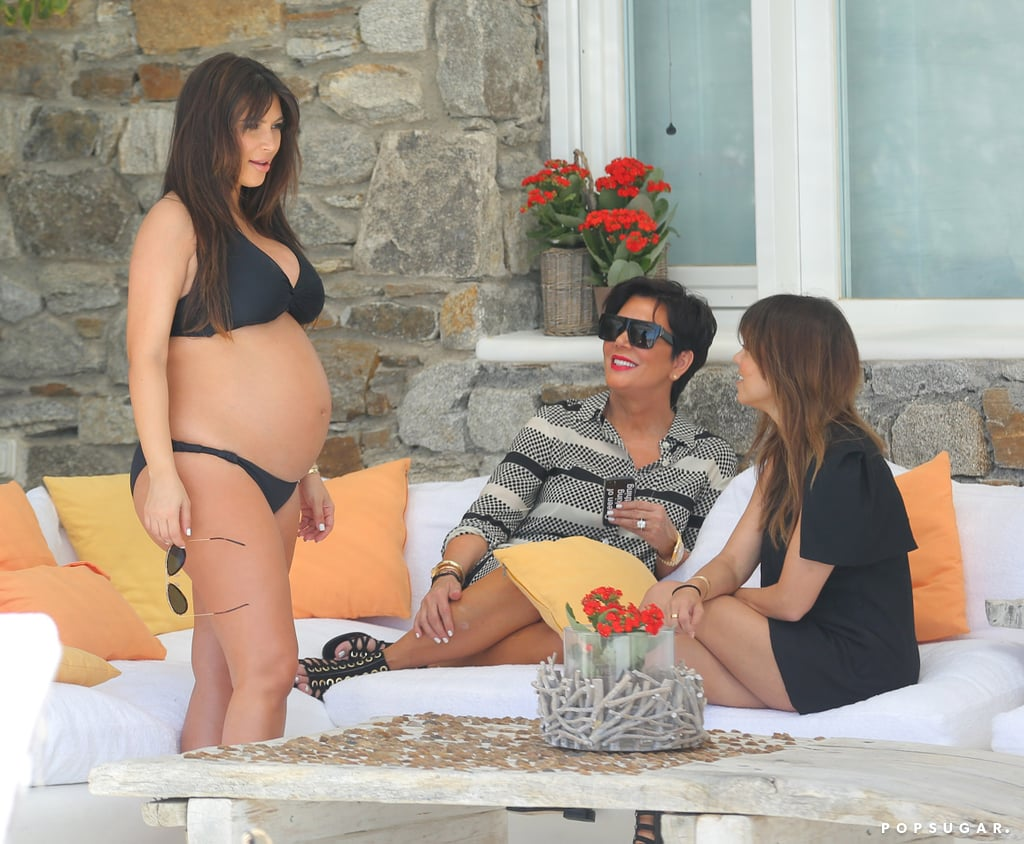 Kim Kardashian, Kourtney Kardashian, and Kris Jenner lounged around together in Mykonos, Greece, in April 2013.