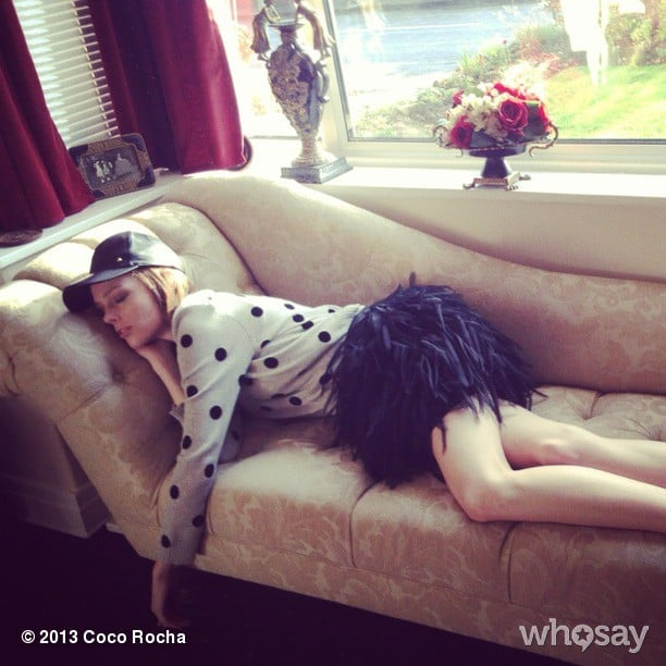 Coco Rocha took a stylish snooze on the couch. Source: Coco Rocha on WhoSay
