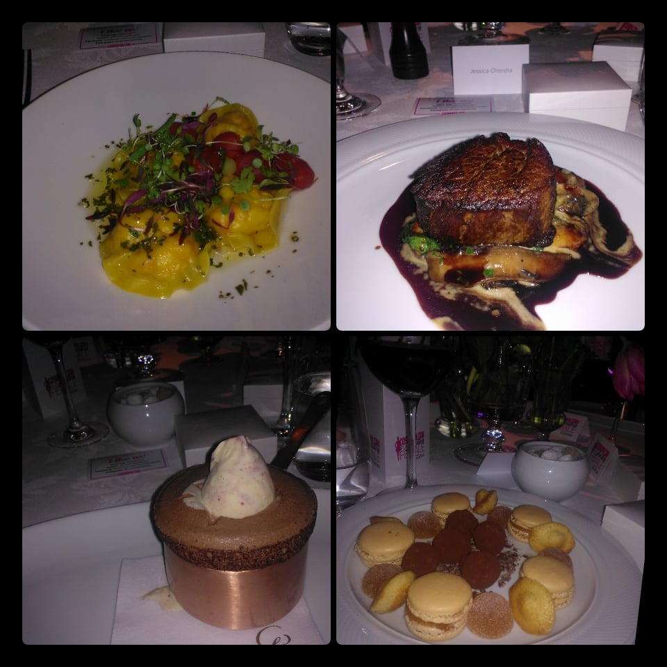 The dishes at the Cosmopolitan FFF Awards: prawn ravioli for entree, beef for main, and a chocolate soufflé with Cherry Ripe ice-cream for dessert! And if that wasn't enough, there was post-dessert dessert.