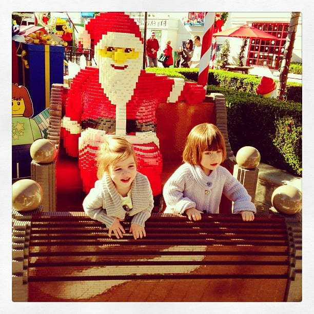 Harper Smith and Simone Masterson-Horn enjoyed the holiday display at Legoland. Source: Instagram user tathiessen