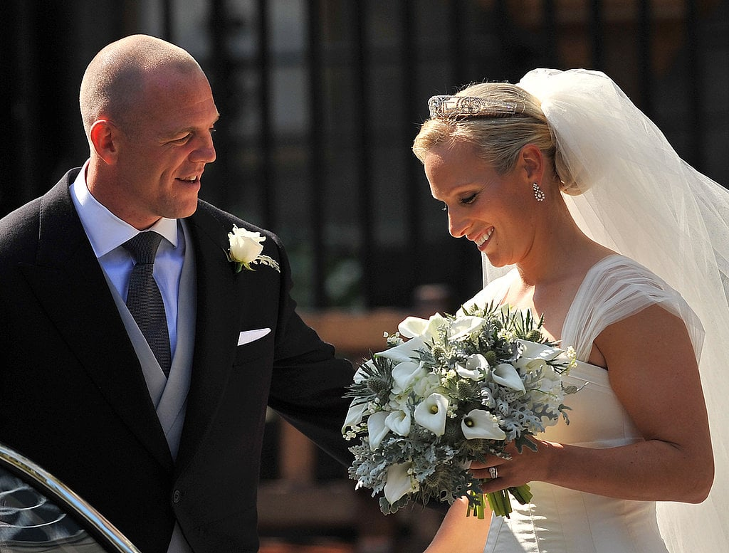 Zara and Mike shared a sweet moment on their wedding day in 2011.