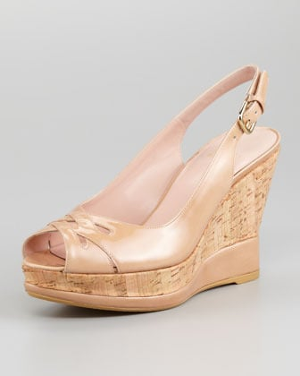 Stuart Weitzman Dolunch Patent Leather and Cork Slingback Wedge
