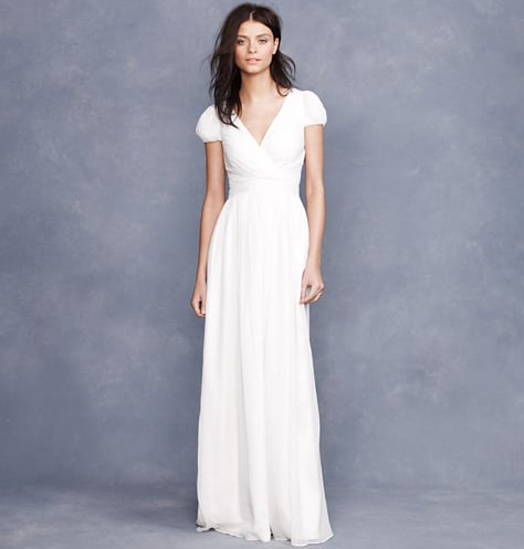 Looking to keep it more minimalist? This gown delivers a beautiful fit, but the simple, streamlined silhouette is ideal for a more understated bride.  J.Crew Mirabelle Gown ($625)