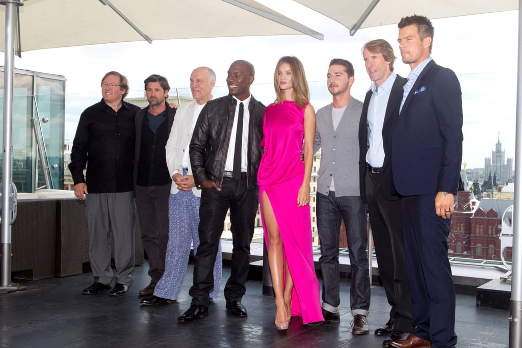Director Michael Bay joined the Transformers cast in Moscow.