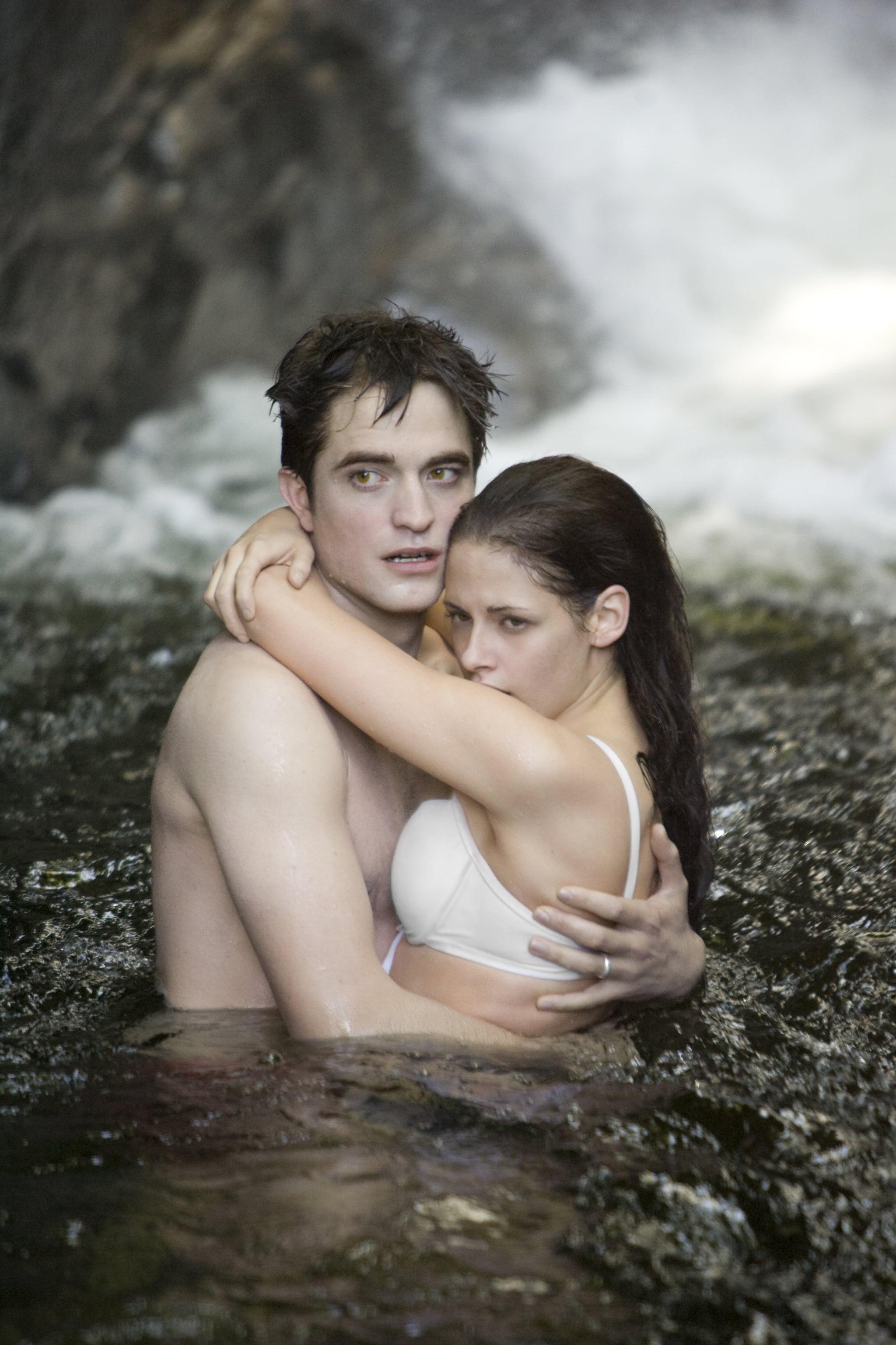 Kristen Stewart and Robert Pattinson play out Bella and Edward's famous honeymoon waterfall scene.