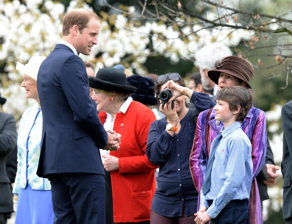 Prince William greeted a young boy while attending the Windsor Greys statue unveiling in England on Monday.
