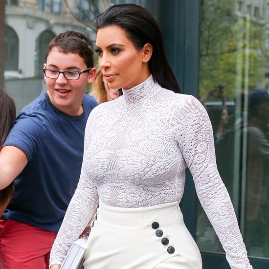 Kim Kardashian Wearing White Outfit For Book Signing 2015