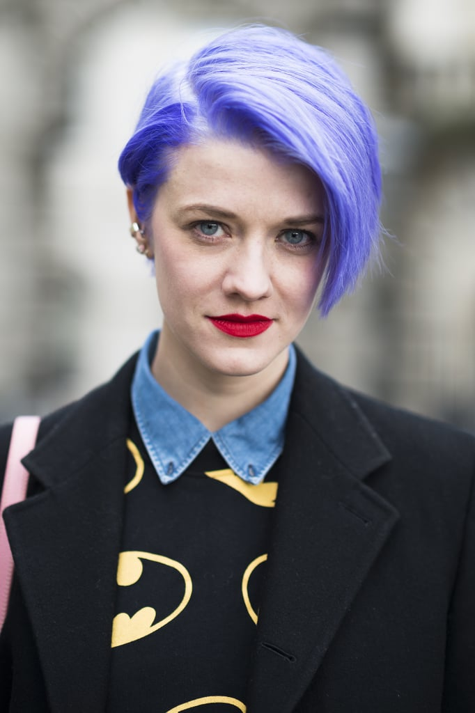 Blogger Marianne Theodorsen showed off her electric purple hue with a vibrant red lipstick. Source: Le 21ème | Adam Katz Sinding