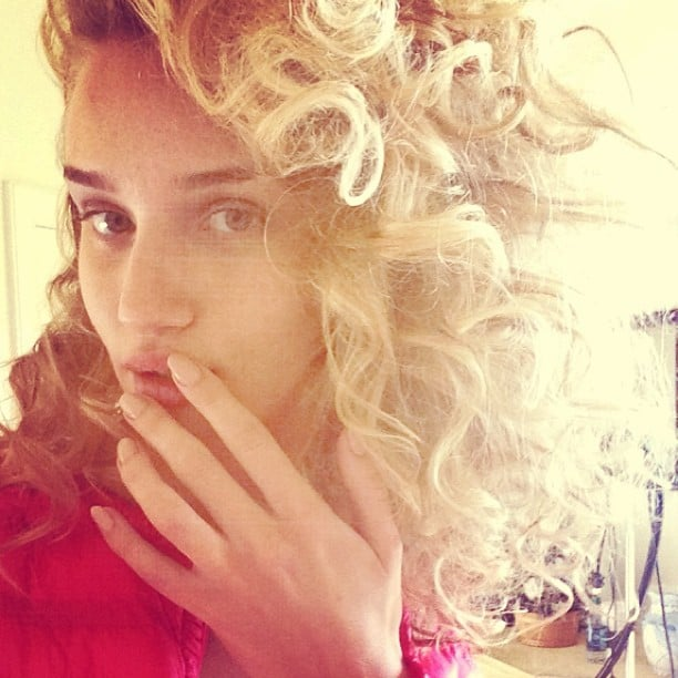It was all about the curls for Rosie Huntington-Whiteley. Source: Instagram user rosiehw